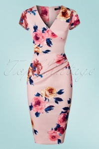 Vintage Chic Scuba Pink Floral Pencil Dress 100 57 21988 20170616 0002w