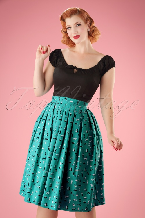 Dancing Days by Banned Turquoise Claire Kitty Skirt 122 39 17819 05022016 019w