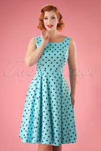 50s Rhiannon Polkadot Swing Dress in Aqua Blue