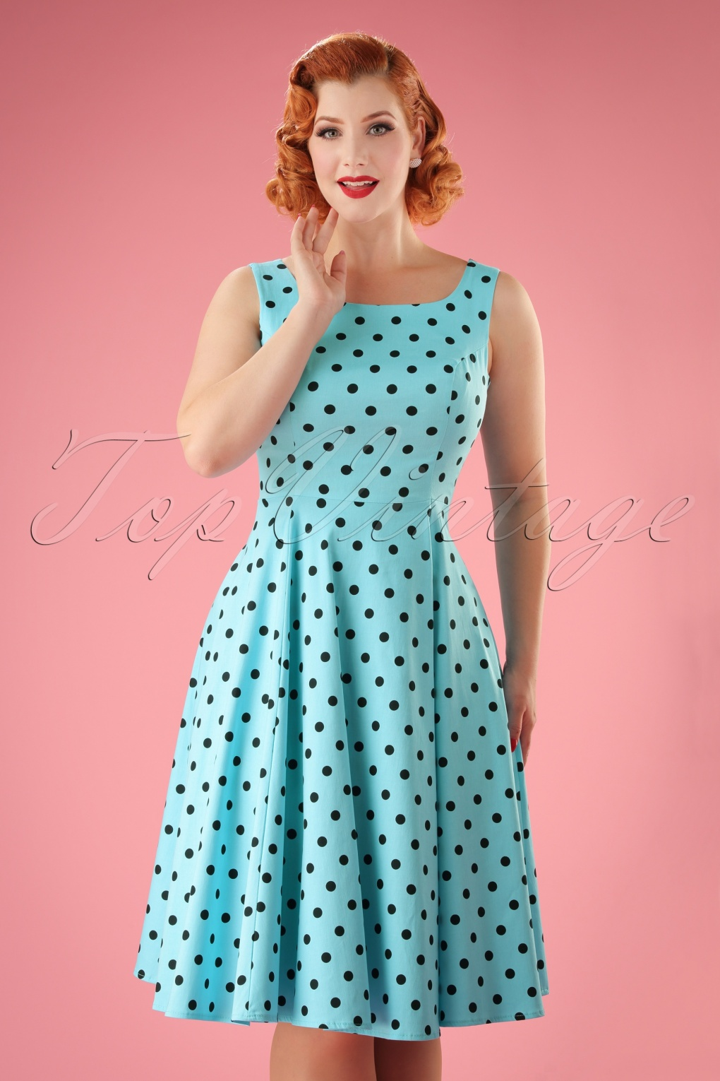 1940s Pinup Dresses for Sale 50s Rhiannon Polkadot Swing Dress in Aqua Blue £31.58 AT vintagedancer.com