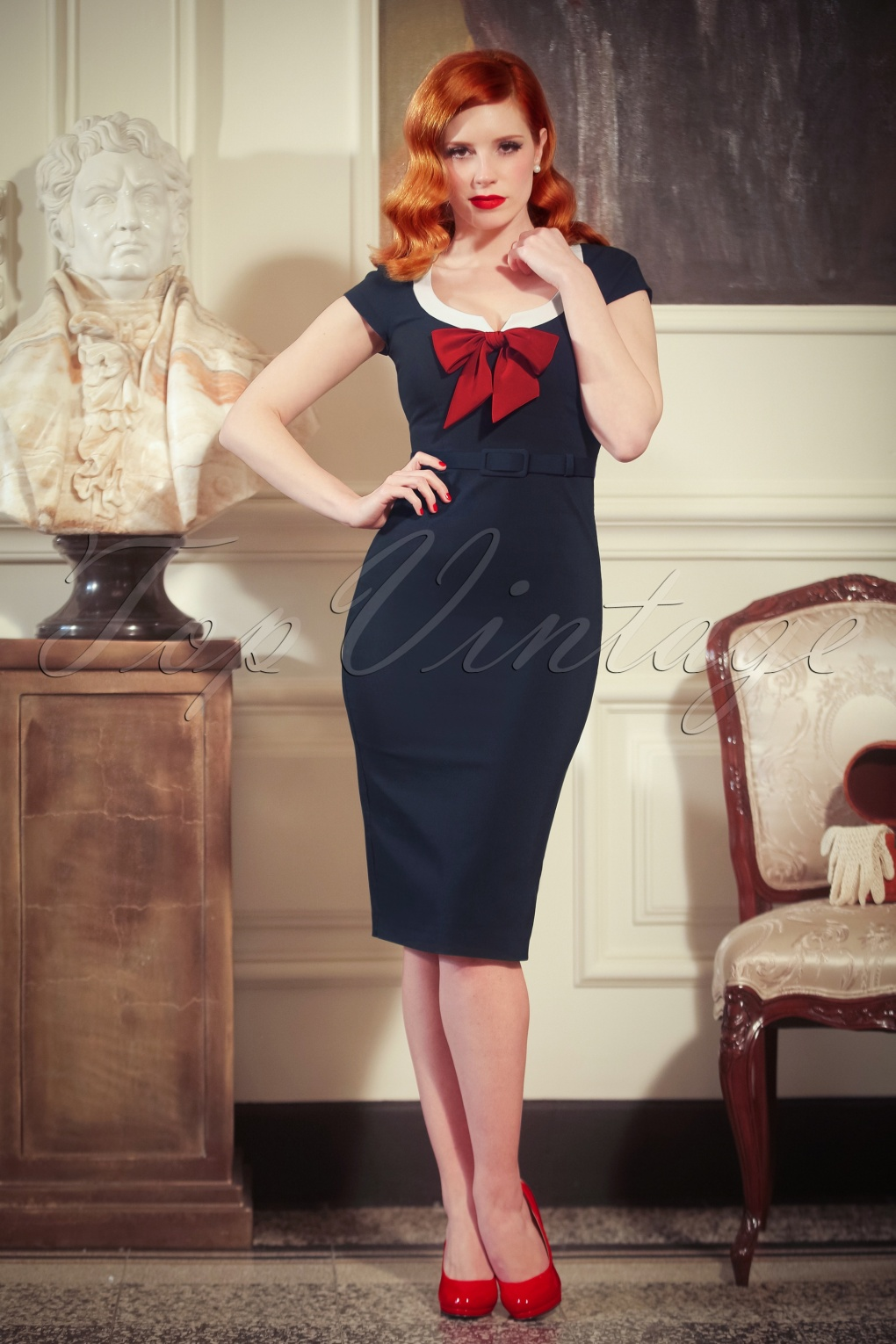 Wiggle Dresses | Pencil Dresses The Dovima Pencil Dress in Navy £128.86 AT vintagedancer.com