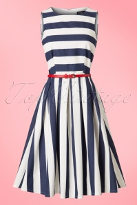 Dolly and Dotty Annie Navy Striped Swing Dress 102 59 22301 20170619 0011w