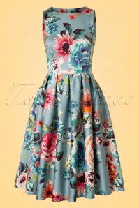 50s Annie Floral Swing Dress in Blue