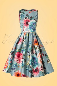 Dolly and Dotty Annie Floral Swing Dress in Blue 102 39 20729 20170619 0004W