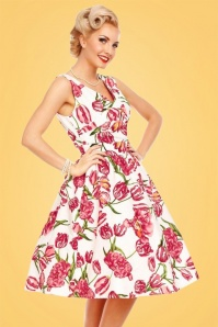 50s May Floral Swing Dress in White