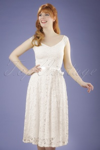 50s Lucia Lace Swing Dress in Ivory