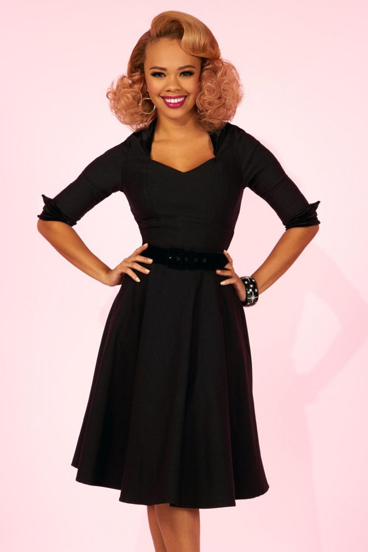 50s Lorelei Swing Dress in Black