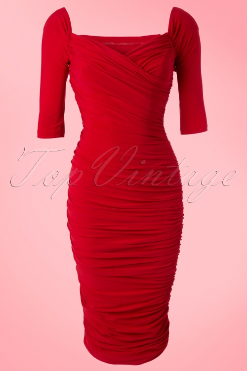 bea8735e515137 Pinup Couture 50s Monica Dress in Red Matte Jersey Knit from Laura Byrnes  Black Label 44