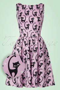 50s Tea Fantastic Cats Dress in Pink