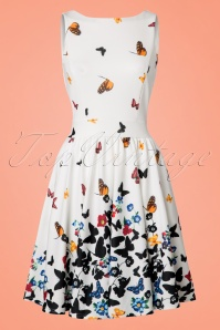 50s Tea Butterfly Swing Dress in Ivory