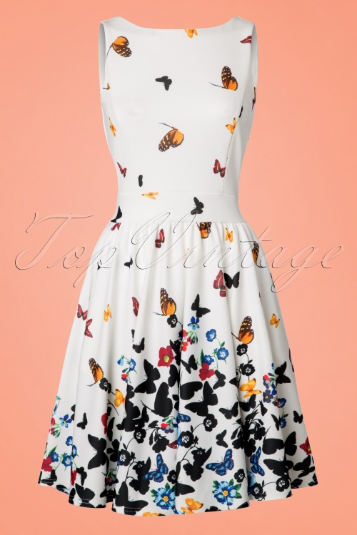Lady V Tea Dress in Butterfly Print 102 59 21793 20170620 0013W