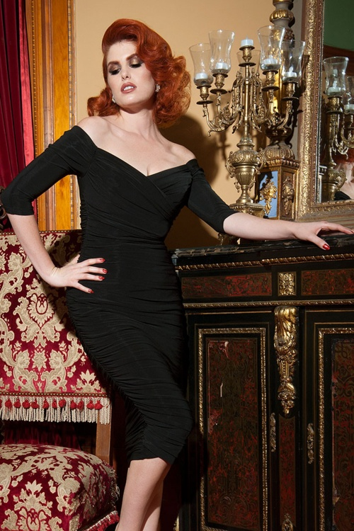Pinup Couture 50s Monica Dress in Black Matte Jersey Knit from Laura Byrnes Black Label 10799 3