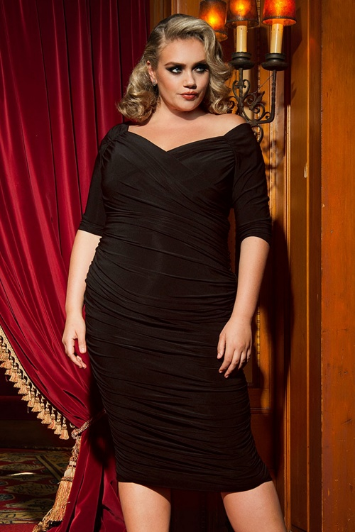 c07f8c499d7e82 Pinup Couture 50s Monica Dress in Black Matte Jersey Knit from Laura Byrnes  Black Label 10799