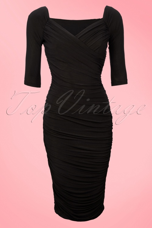 e63acdd2d24aff Pinup Couture 50s Monica Dress in Black Matte Jersey Knit from Laura Byrnes  Black Label 44