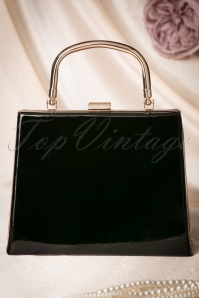 50s Leona Lacquer Lock Bag in Black
