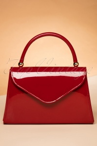 60s Lillian Lacquer Flap Bag in Red