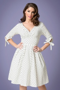 Unique Vintage 50s Delores Polkadots Swing Dress in White 102 59 21458 20170622 0025