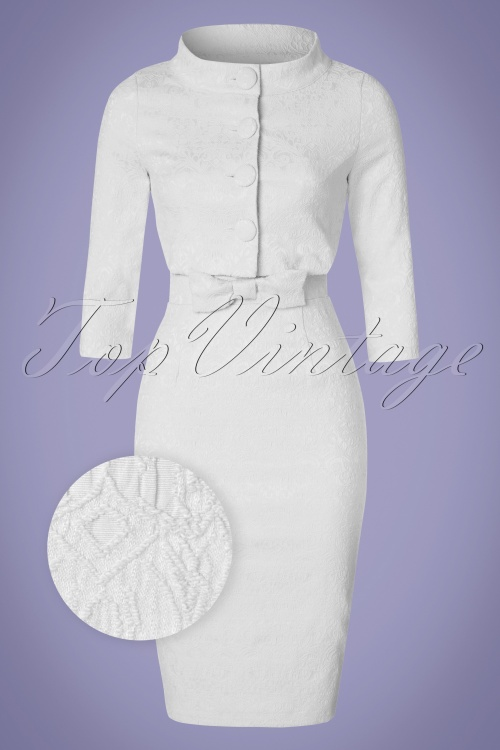 Lindy Bop Maybele White Lace Pencil Dress 100 50 21222 20170403 0011wv