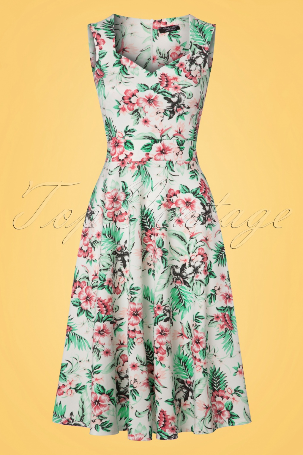 50s Veronique Tropical Swing Dress in Ivory