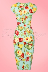 Vintage Chic 50s Laila Floral Dress in Mint 100 39 22332 20170627 0007w
