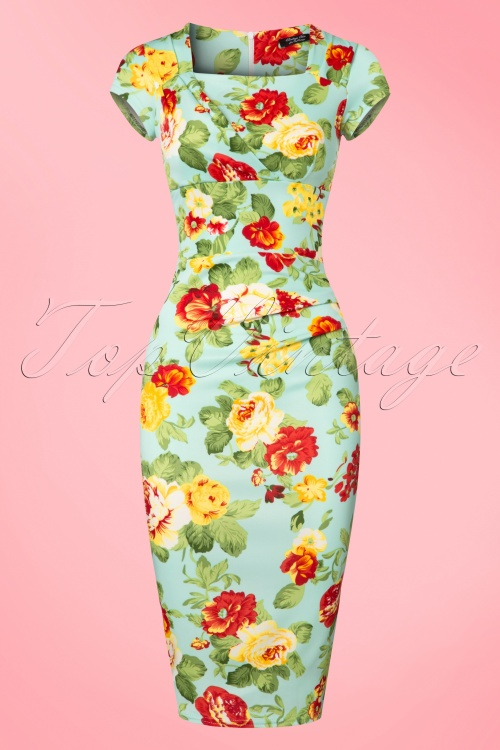 Vintage Chic 50s Laila Floral Dress in Mint 100 39 22332 20170627 0002w