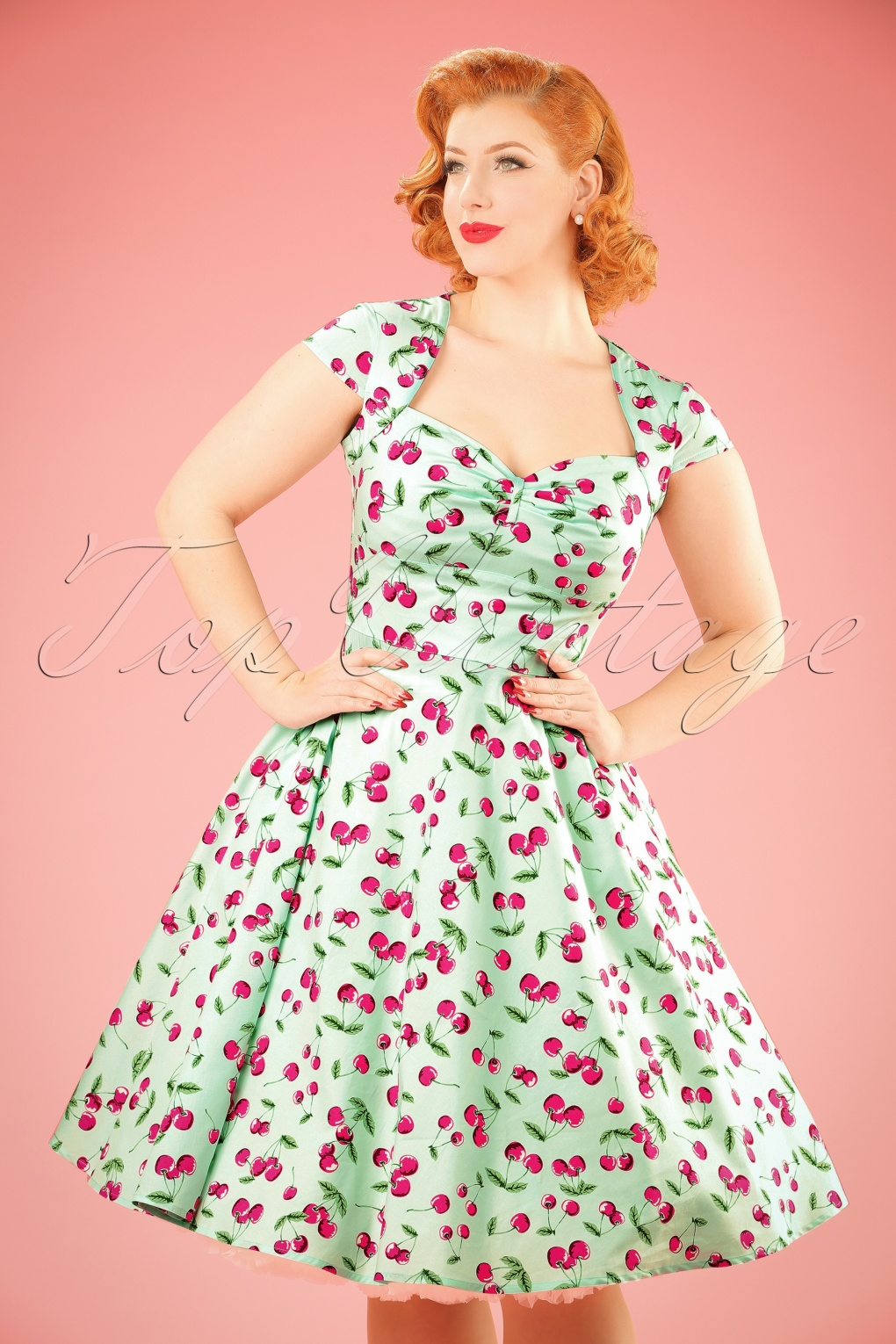 1940s Pinup Dresses for Sale 50s April Cherry Swing Dress in Mint Green £34.73 AT vintagedancer.com