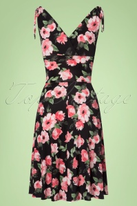 Vintage Chic 50s Grecian Black Pink FLowers Dress 102 14 22410 20170630 0008w