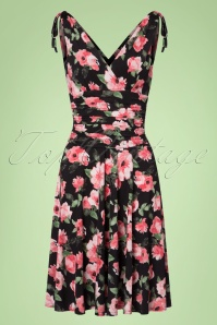Vintage Chic 50s Grecian Black Pink FLowers Dress 102 14 22410 20170630 0002w