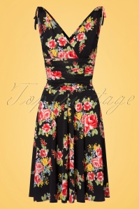 50s Grecian Vintage Bouquet Dress in Black