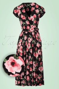 Vintage Chic Layla Swing Dress with Pink Roses 102 14 22428 20170704 0003W1
