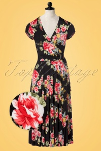 50s Layla Cross Over Roses Swing Dress in Black