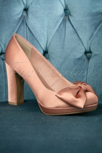 50s Satin Bow Pumps in Pink