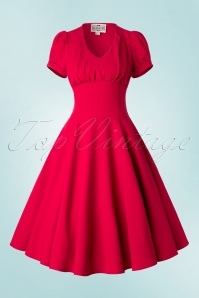 Collectif Clothing Nadine Plain Red Swing Dress 16117 20150625 0003W