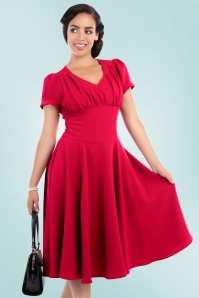 Collectif Clothing Nadine Plain Red Swing Dress 1