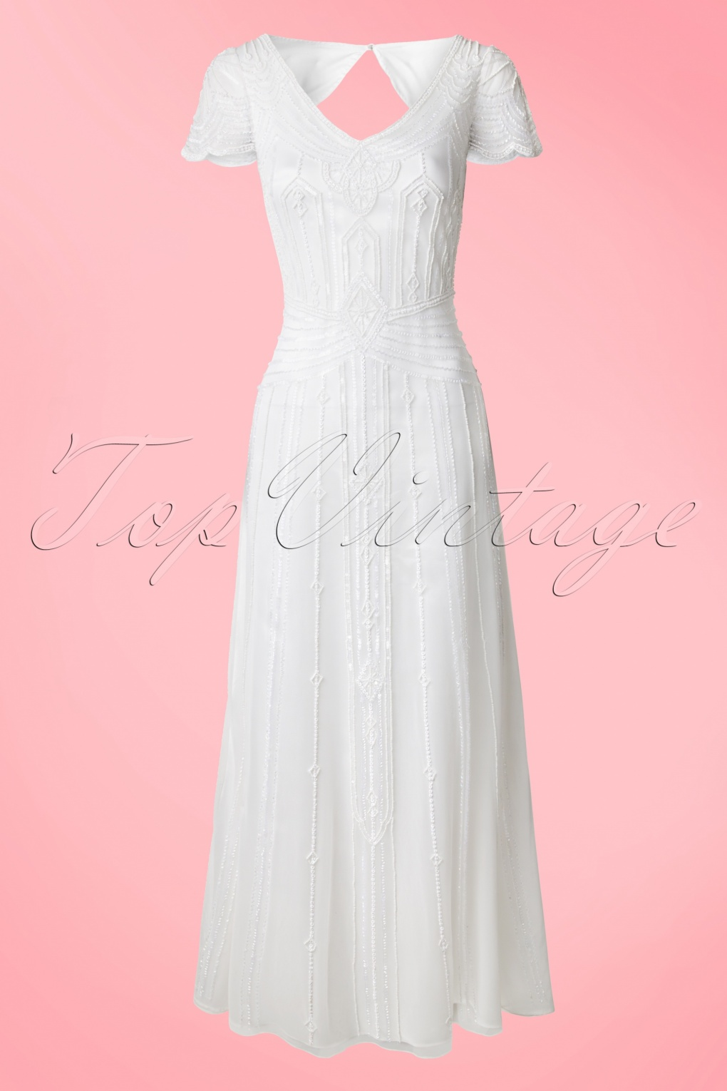Vintage Inspired Wedding Dresses 20s Phoebe Embellished Maxi Dress in White £122.07 AT vintagedancer.com