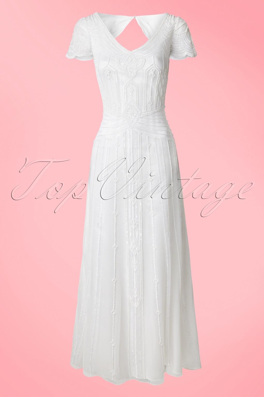 1920s Wedding Dresses- Art Deco Style 20s Phoebe Embellished Maxi Dress in White £241.90 AT vintagedancer.com