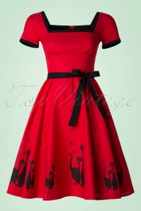 50s Simone El Gato Gomez Swing Dress in Red