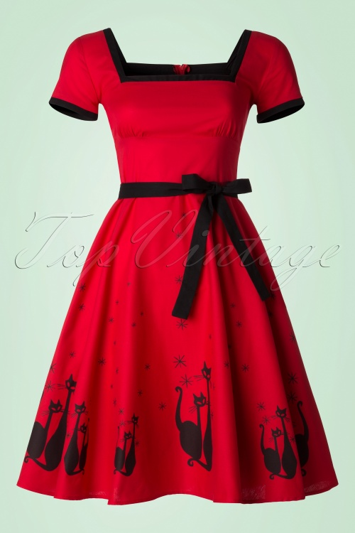 Heart of Haute Simone 50s Red Swing Cat Dress 102 27 18168 20160526 0018W