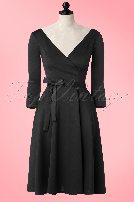 50s Donna Swing Dress In Black
