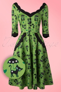50s Jade Cat Swing Dress in Green