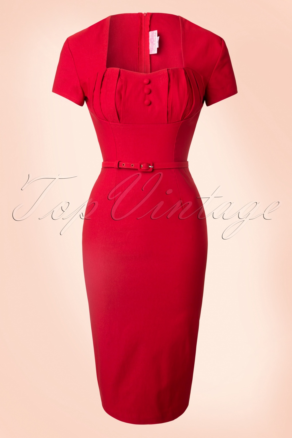 1940s Pinup Dresses for Sale 40s Charlotte Pencil Dress in Red £118.50 AT vintagedancer.com