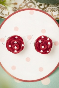 50s Polkadots On My Red Roses Earrings