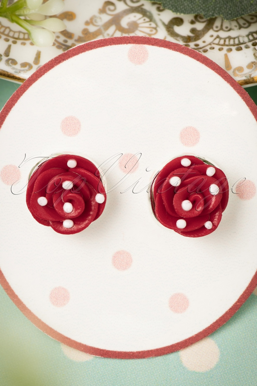 50s Jewelry: Earrings, Necklace, Brooch, Bracelet 50s Polkadots On My Red Roses Earrings £11.48 AT vintagedancer.com