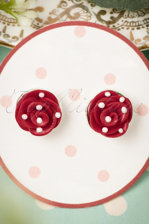 Sweet Cherry Red white Roses Earrings 333 27 22419 07102017 003W