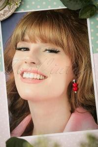Sweet Cherry Red Duo Hearts Earrings 333 20 22421 07102017 006W