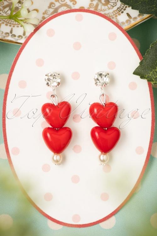 Sweet Cherry Red Duo Hearts Earrings 333 20 22421 07102017 003W