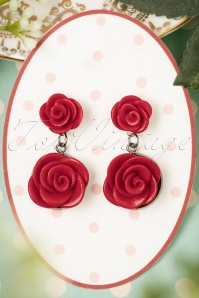 Sweet Cherry Romantic Red Roses Earrings Années 40