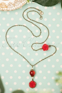 40s I Love My Red Roses Necklace