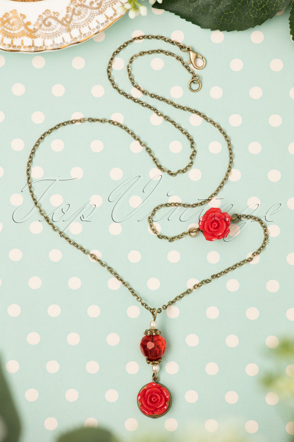 Vintage Style Jewelry, Retro Jewelry 40s I Love My Red Roses Necklace £13.12 AT vintagedancer.com