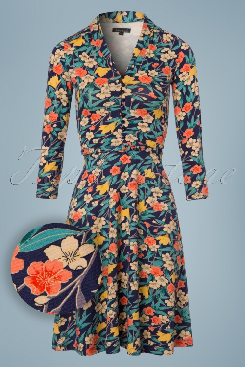 King Louie Emmy Floral Dress in Inkblue 102 39 21204 20170710 0002W1